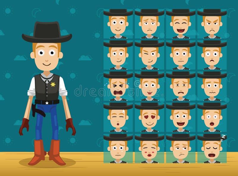 Emoticons Vector-01 de Toy Character Set Cowboy Cartoon ilustración del vector