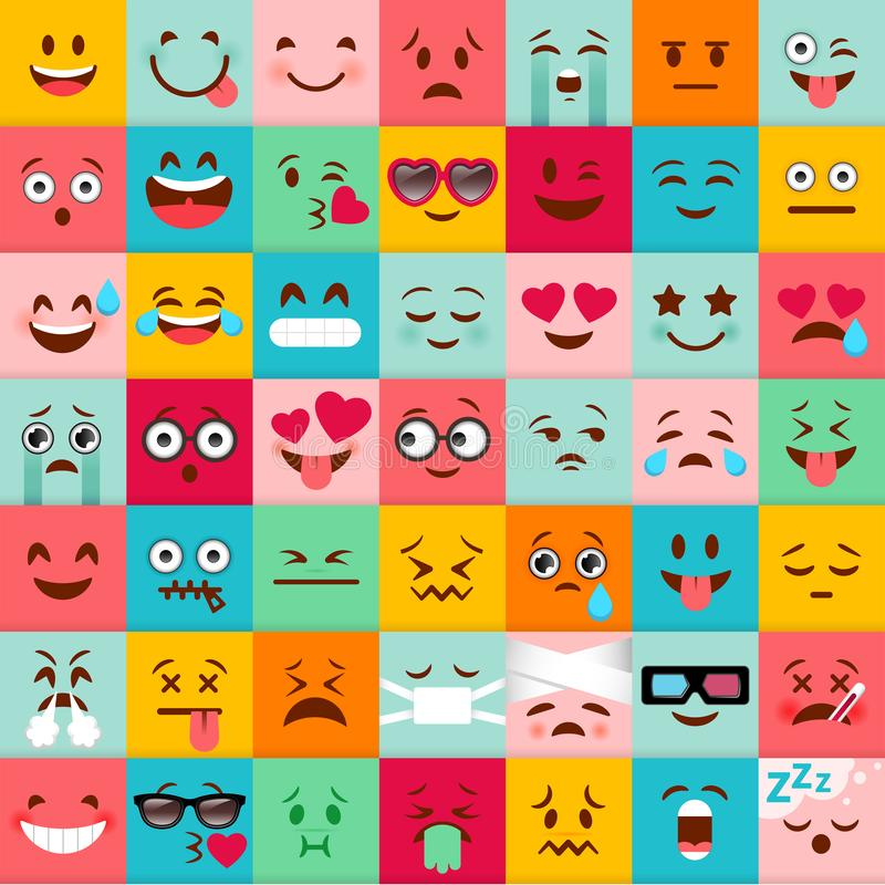 Emoticons vector pattern. Emoji square icons. Cute emoji colorfull illustration. Big set flat cartoon style. Face funny backgound vector illustration