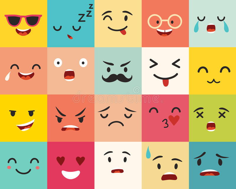 Emoticons vector pattern. Emoji square icons. Cute emoji colorfull illustration. Big set flat cartoon style. Face funny backgound stock illustration