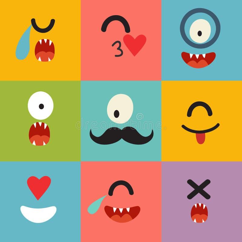 Emoticons vectorpatroon royalty-vrije illustratie