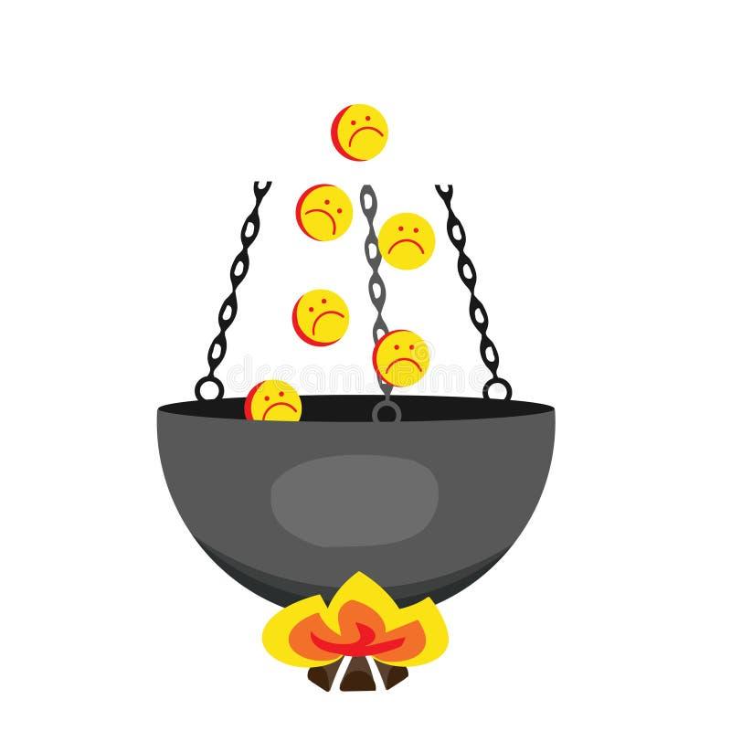 Emoticons w piekle Grzesznicy w kotła wektoru ilustraci ilustracji
