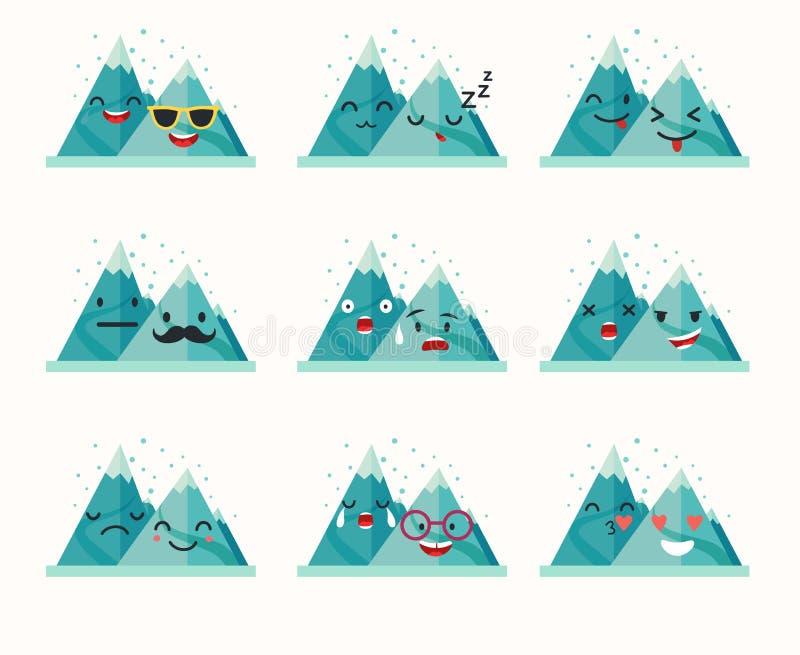 Emoticons wektoru halny set royalty ilustracja