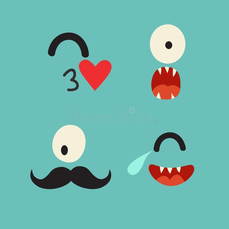 Emoticons wektoru szablon royalty ilustracja
