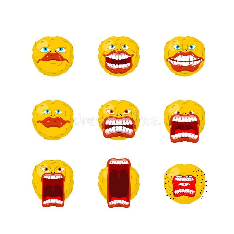 Emoticonsatz Öffnen Sie Mund und Zähne Verrücktes emoji Gefühlschreie vektor abbildung