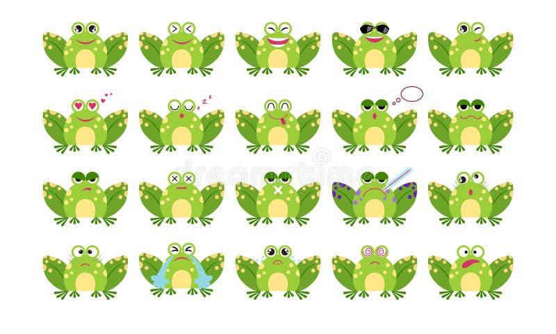 Emoticonsatz Frosch der Karikatur lustiger Lächeln, gebohrte, bezauberte, schläfrige, traurige, schreiende, kranke, verrückte und lizenzfreie abbildung
