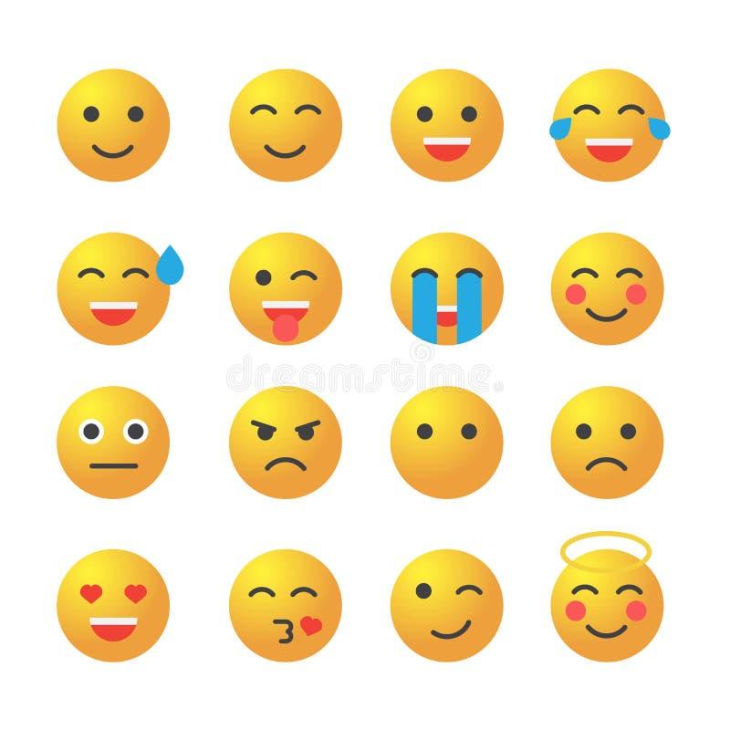 Emoticonsatz Sammlung emoji Emoticons 3D vektor abbildung