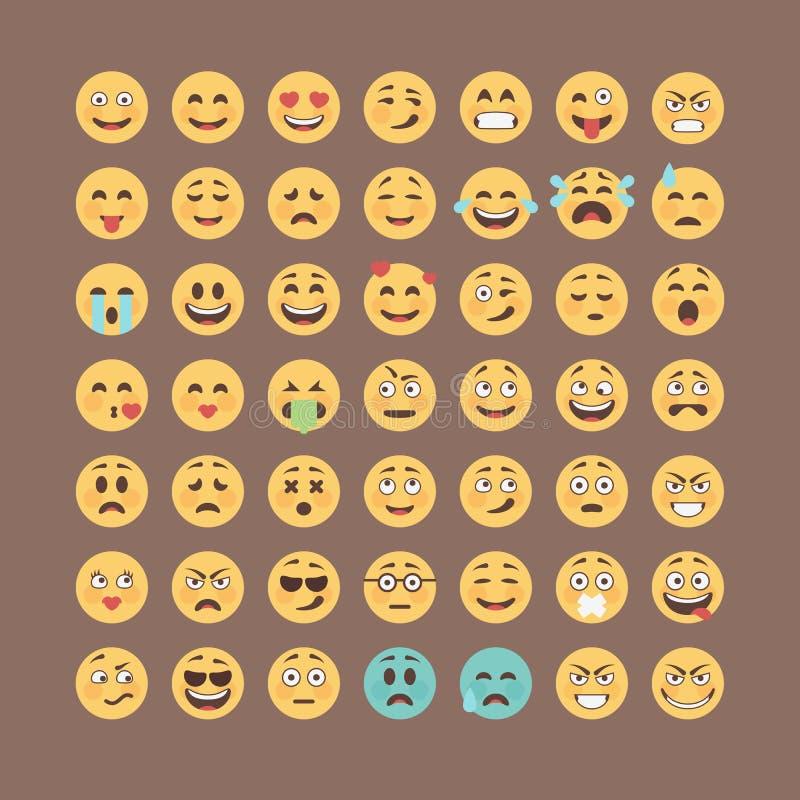 Emoticonsinzameling Vlakke emojireeks Het leuke pak van het smileyspictogram Vectorillucttration vector illustratie