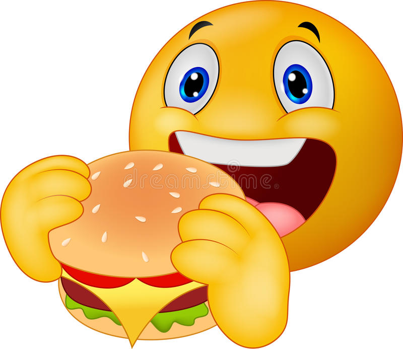 Emoticonsmiley die hamburger eten stock illustratie