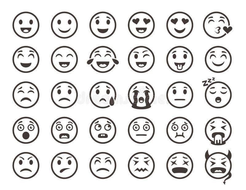 Emoticonsoverzicht Emoji ziet emoticon de grappige pictogrammen van de glimlach vectorlijn onder ogen vector illustratie
