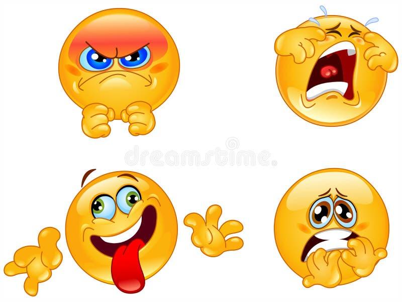 emoticonssinnesrörelser royaltyfri illustrationer