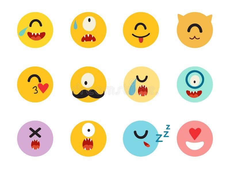 Emoticonszyklop-Vektorsatz lizenzfreie abbildung