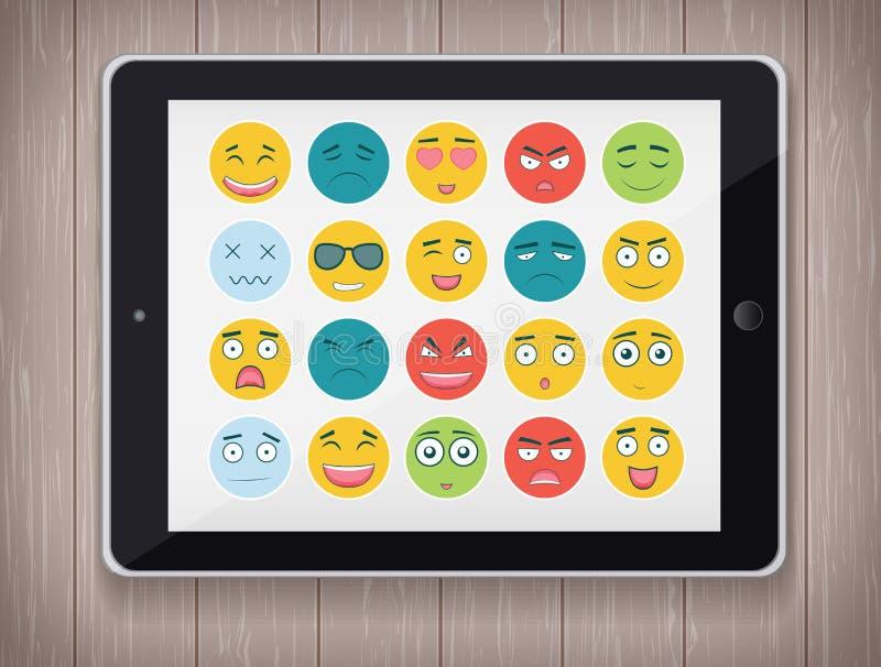 Download Emoticonuppsättning Med Realistisk MinnestavlaPC Emoticon För Webbplatsen, Pratstund, Sms Modern Plan Design Vektor Vektor Illustrationer - Illustration av gyckel, uttryck: 78730161