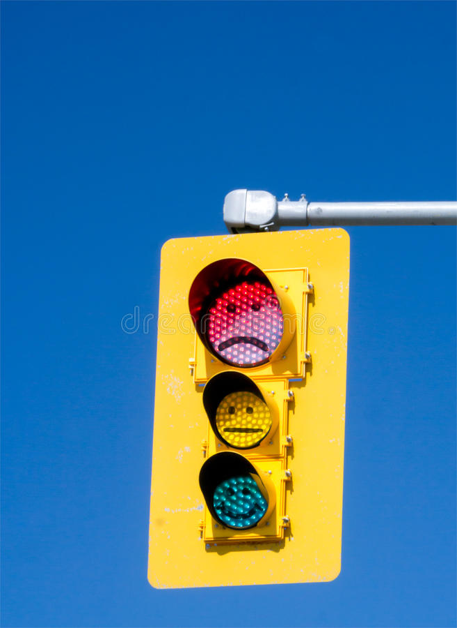 Emoticonverkeerslicht stock afbeelding
