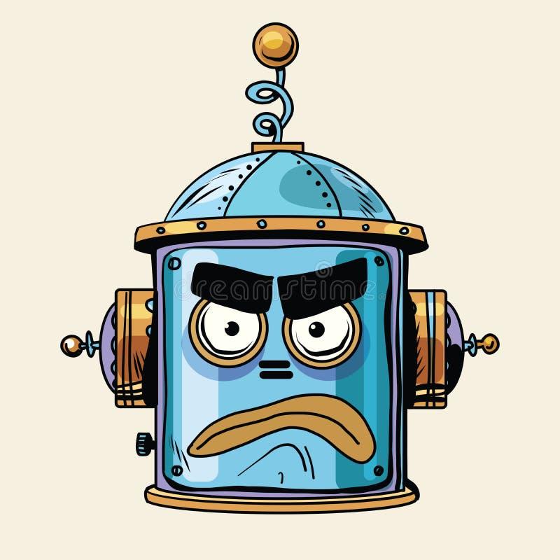 Emotie van de robot hoofdsmiley van Emoticon de boze emoji vector illustratie