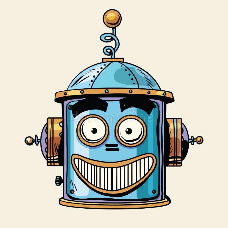 Emotie van de robot hoofdsmiley van Emoticon de gelukkige emoji royalty-vrije illustratie