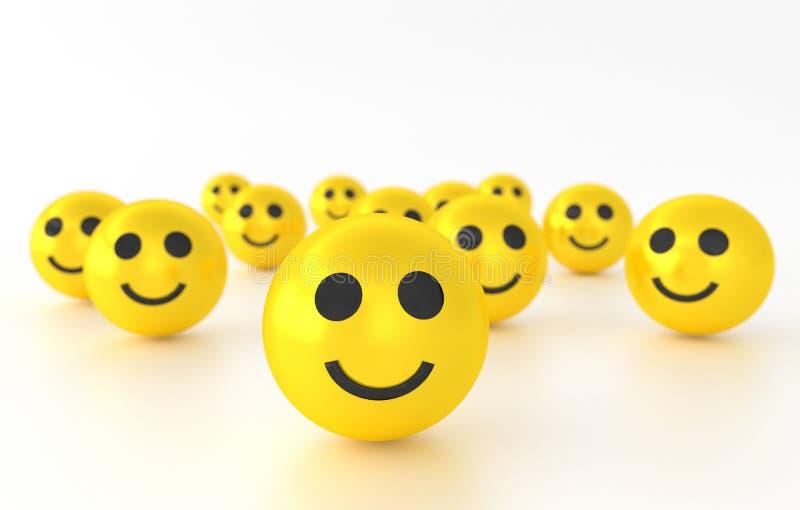 Emotiepictogrammen met glimlachuitdrukkingen het 3d teruggeven royalty-vrije illustratie