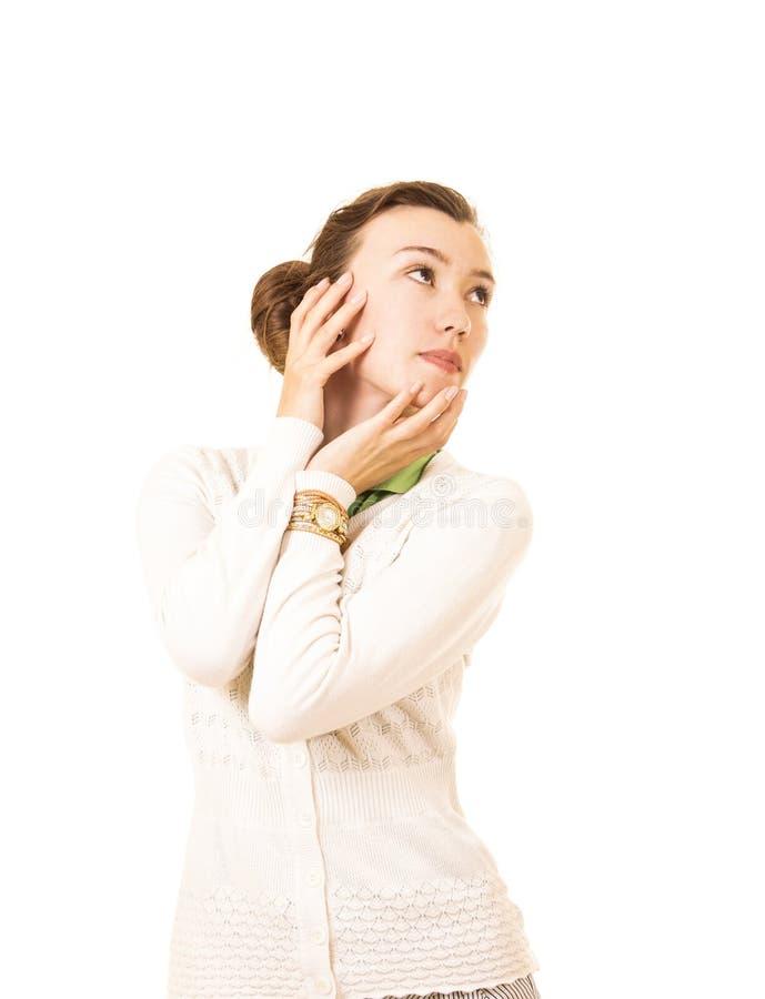 Emoties van een mooi meisje met lang haar, in een wit jasje stock afbeeldingen