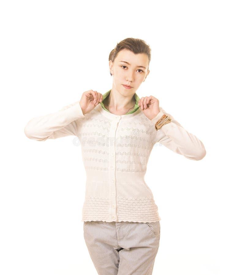 Emoties van een mooi meisje met lang haar, in een wit jasje royalty-vrije stock fotografie