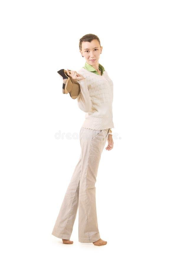 Emoties van een mooi meisje met lang haar, in een wit jasje royalty-vrije stock afbeeldingen
