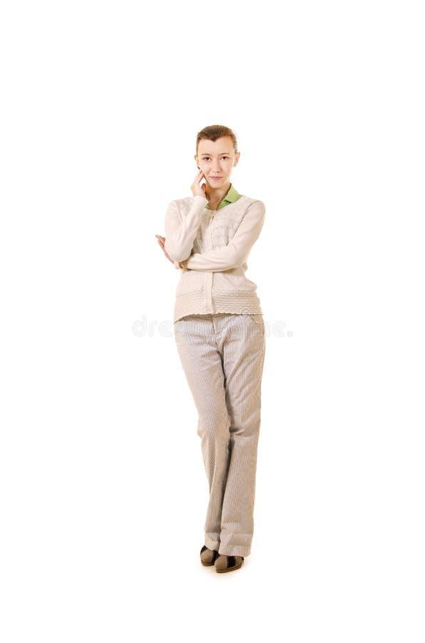 Emoties van een mooi meisje met lang haar, in een wit jasje royalty-vrije stock foto's