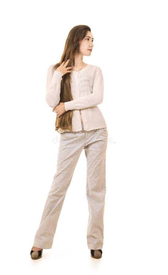 Emoties van een mooi meisje met lang haar, in een wit jasje stock afbeelding