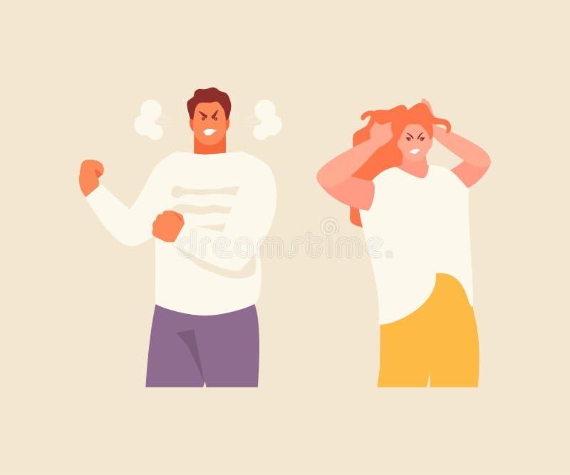 Emoties van woede en woede vector illustratie