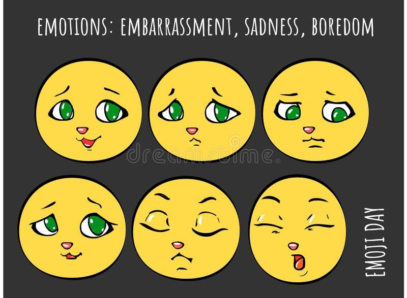 Emoties - verlegenheid, droefheid, verveling vector illustratie