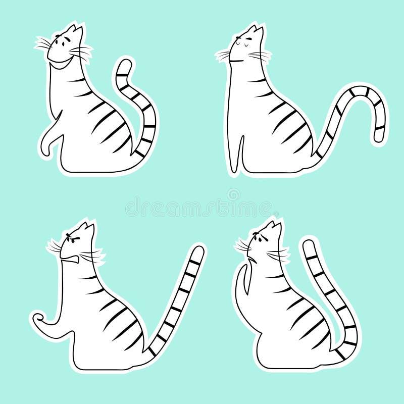 Emotieskatten Vreugde en woede, rust en vrees Het wit van de gestreepte katkat met zwarte strepen Vector illustratie stock illustratie