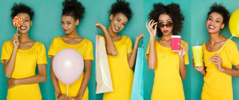 Download Emotiesreeks Van Jonge Vrouw Bij Studioachtergrond Stock Foto - Afbeelding bestaande uit gezicht, vertrouwen: 114225296