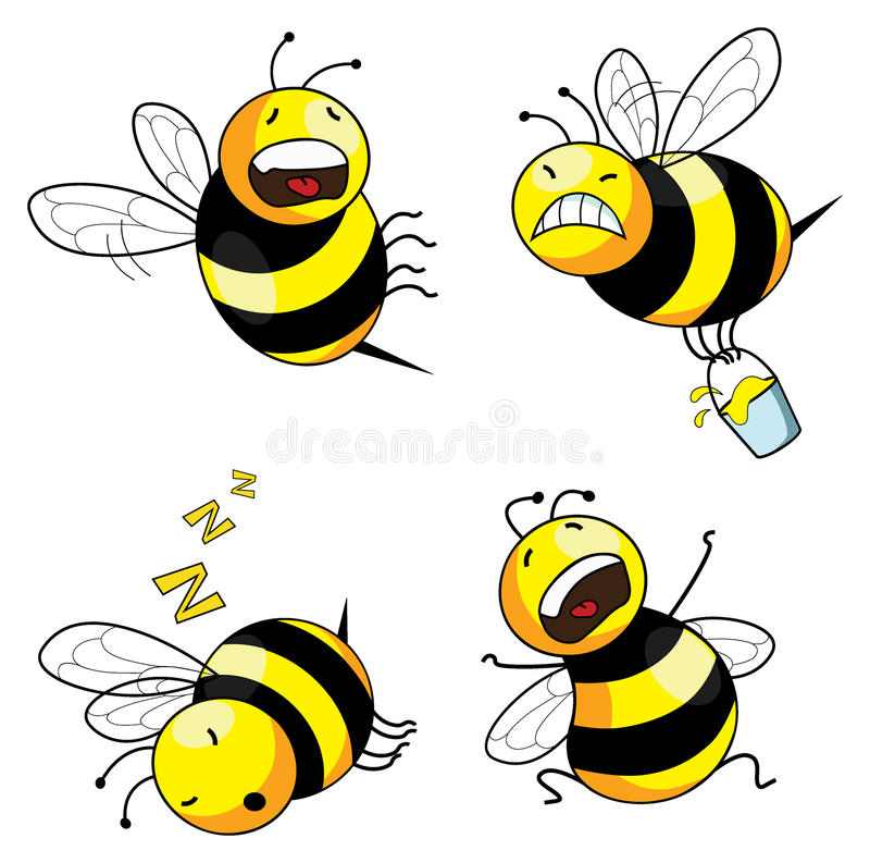 Emotion bee comic character stock illustration