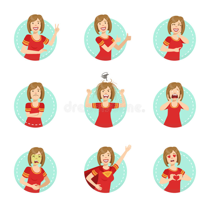 Free Emotion Body Language Illustration Set With Woman Demonstrating Royalty Free Stock Images - 75478329