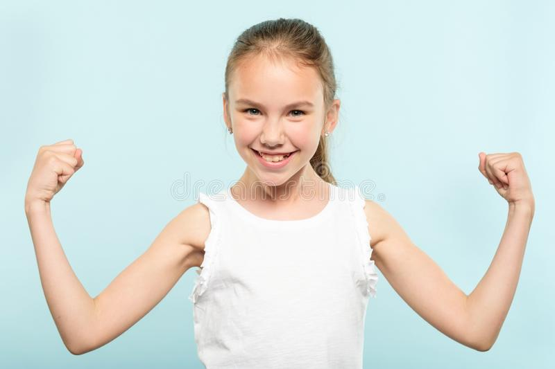 Emotion expression victory yes thrilled girl smile. Emotion expression. victory yes. very happy joyful thrilled to bits child with beaming smile and hands in the royalty free stock photos