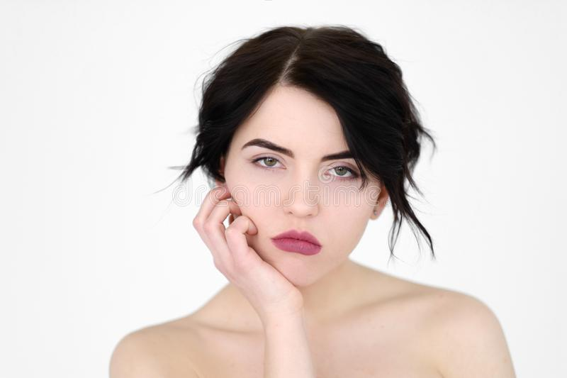 Emotion face bored fed up apathetic woman stock photography