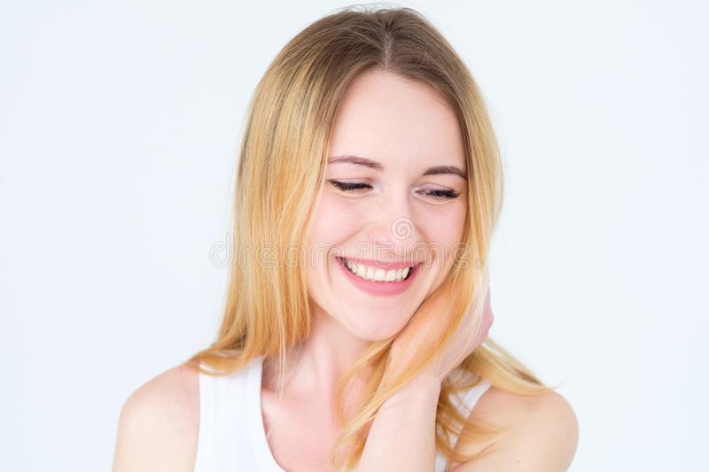 Emotion face content smiling delighted woman royalty free stock photo