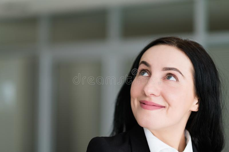 Emotion face happy smiling cheerful look up woman stock photography