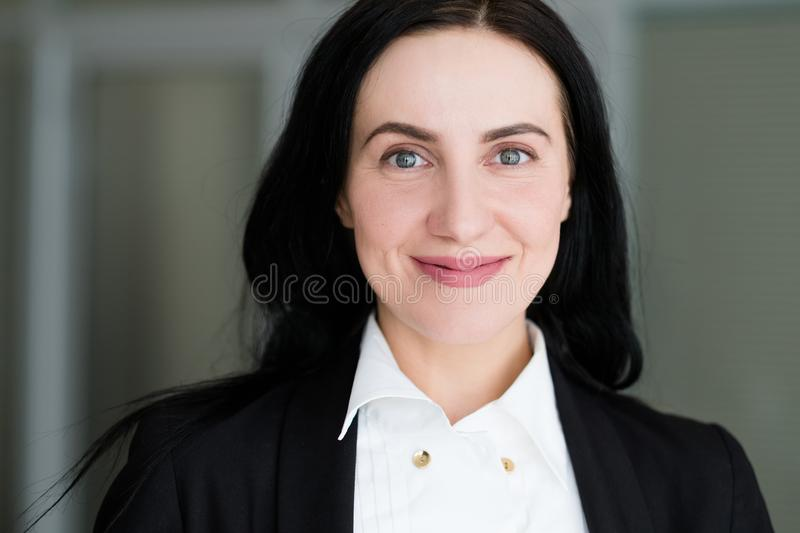 Emotion face happy smiling joyful delighted woman stock image