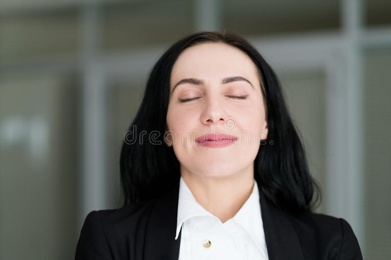 Emotion face smiling woman pleased self satisfied stock photography