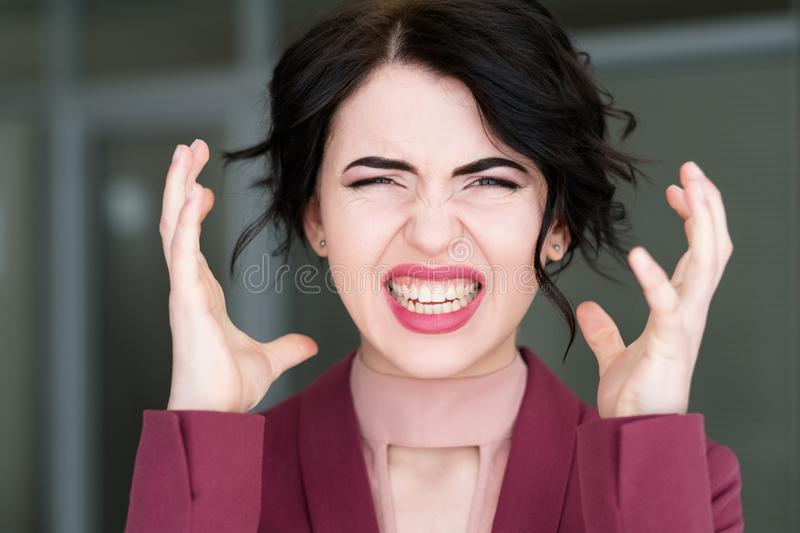 Emotion face stress woman exploding head overwork royalty free stock images