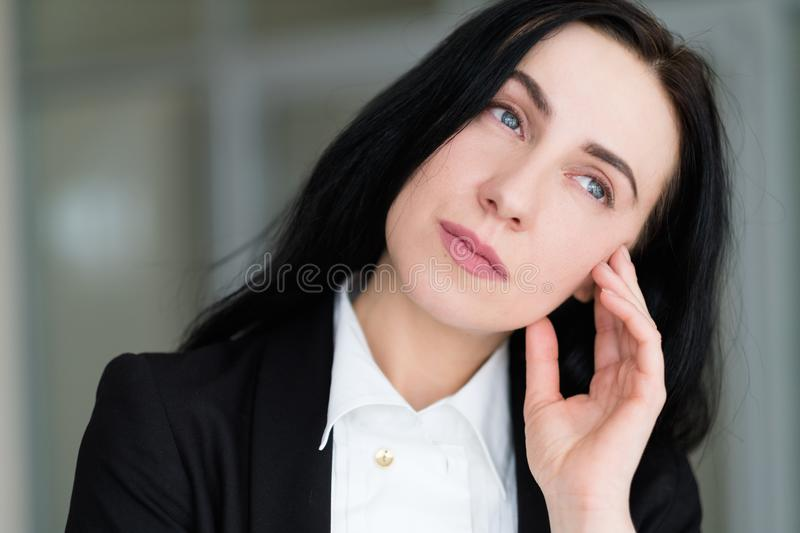 Emotion face thoughtful wistful pensive sad woman royalty free stock photos