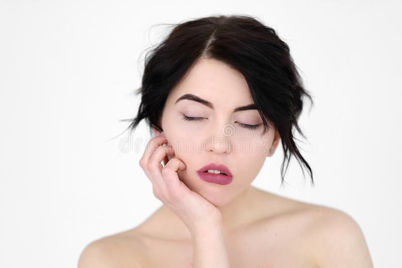 Emotion face tired woman sleep deprivation fatigue stock image
