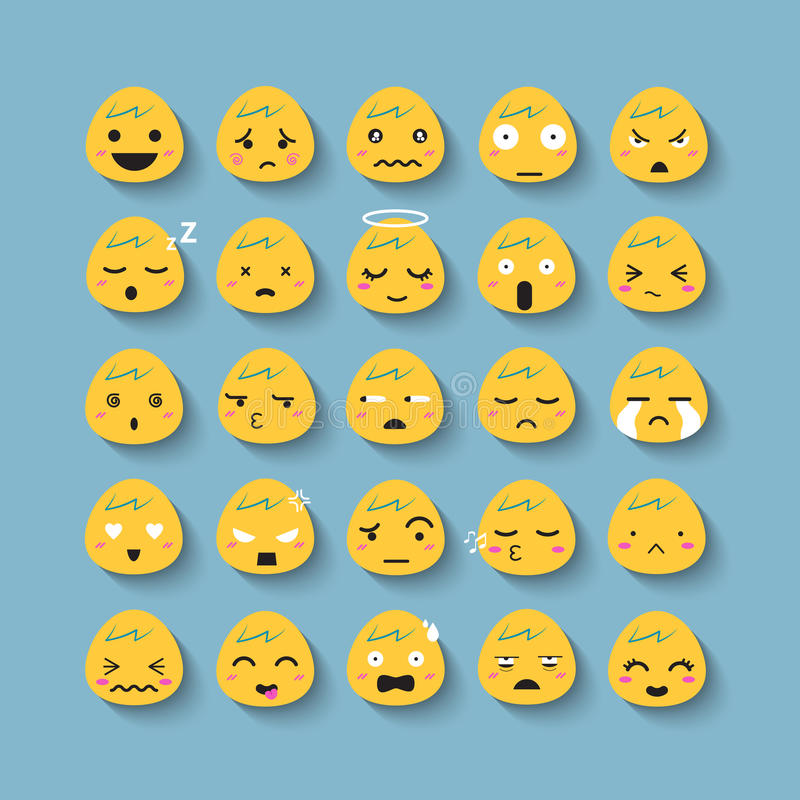 Emotion face vector icon set royalty free illustration