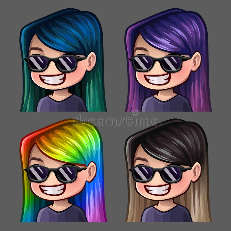 Emotion icons smile female in black glasses with long hairs for social networks and stickers stock illustration