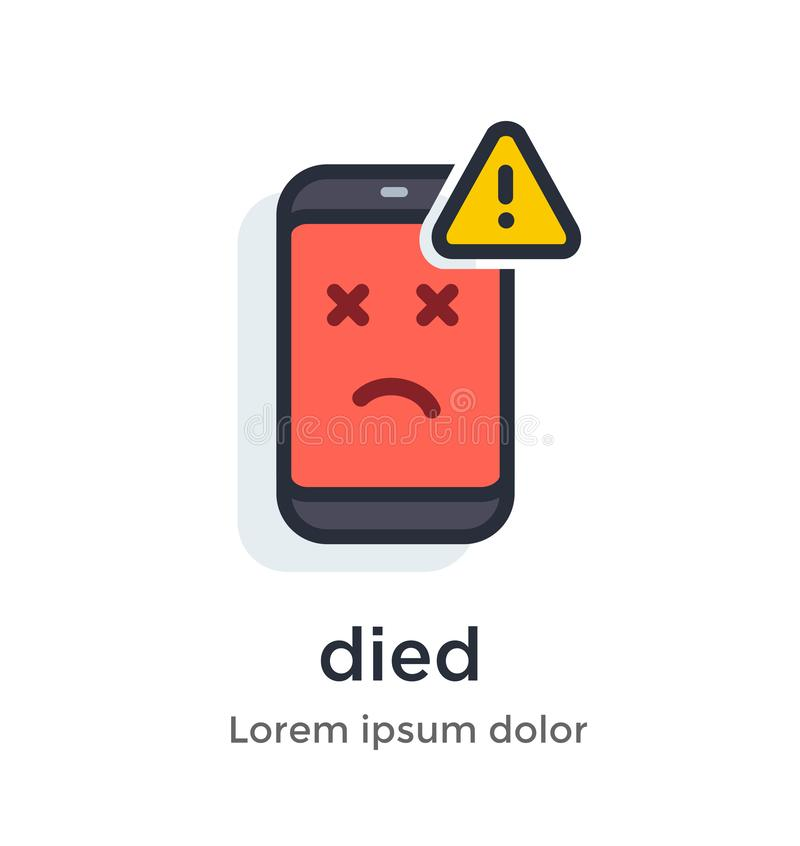 Emotion phone disease, thermometer, problems, glitches, virus, firmware, os illustration Icon. vector illustration