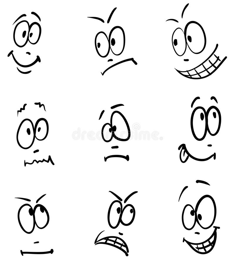 Download Emotion, Set Of Nine Sketch Faces Stock Vector - Image: 19701003