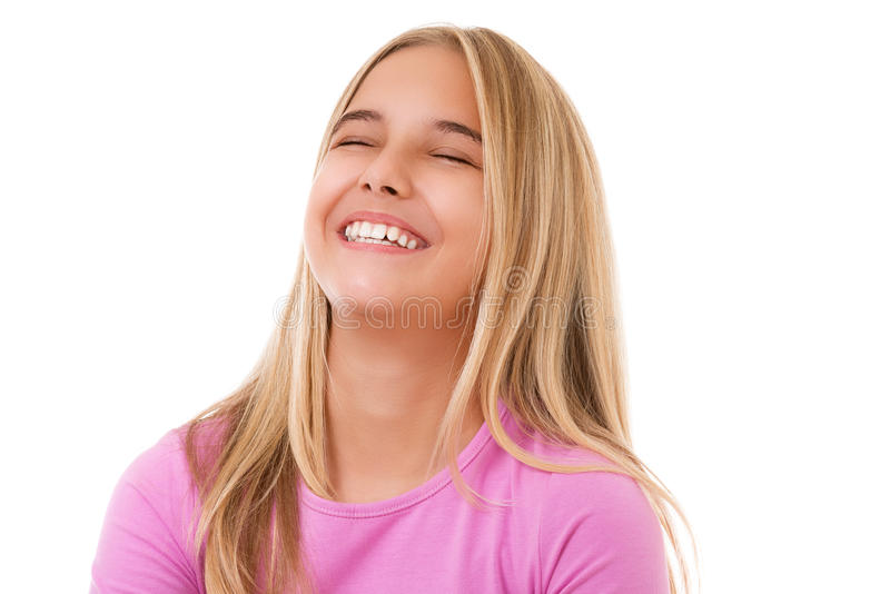 Emotion, success, gesture and people concept- portrait of teenage girl laughing, royalty free stock photography