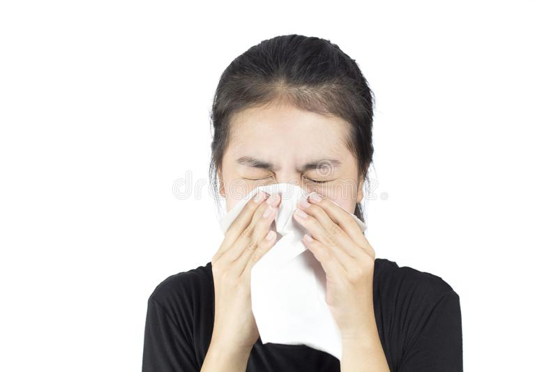 Smell foul. Emotion woman smell foul in white background royalty free stock photography