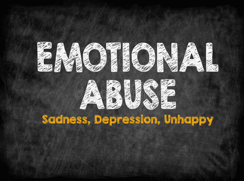 Emotional Abuse concept. Sadness Depression Unhappy. Black board with texture, background royalty free illustration