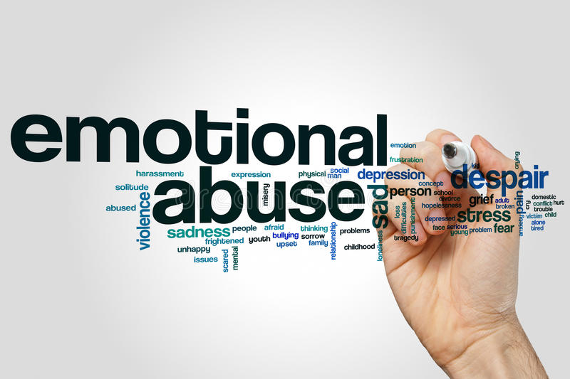 Emotional abuse word cloud concept on grey background stock photo