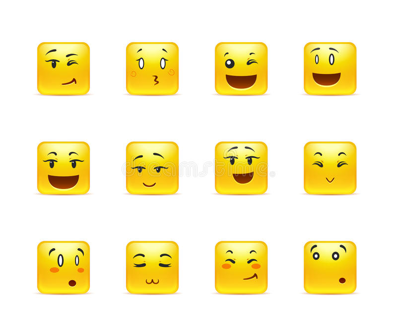 Emotional anime smilies. The most beautiful yellow square anime stickers with different emotions stock illustration