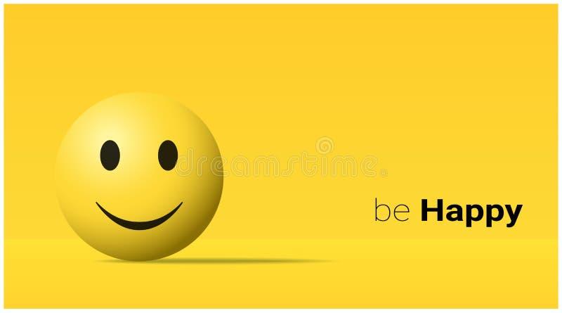 Emotional background with happy yellow face emoji stock illustration